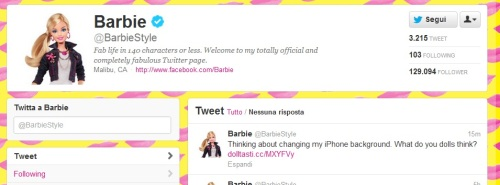 L'account di Barbie su Twitter